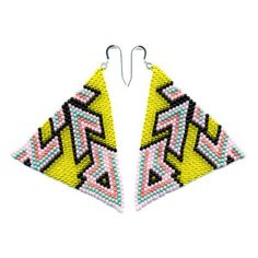 brokenfab Boutique — Hand-Beaded Pyramid Earrings