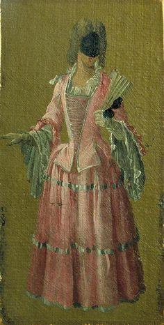A Masked Lady by Carlevarijs, 1700-10 - woman wearing a vizard mask
