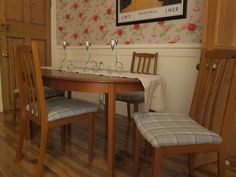 Reupholstered the dining chairs, quite pleased with the result.