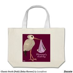 Classic Stork (Pink) (Baby Shower) Large Tote Bag