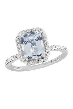 Effy Jewelry 14K White Gold Aquamarine  Diamond Ring, 3.19 TCW
