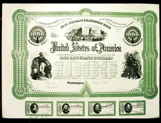 Antique Civil War Era 1865 United States Treasury $1,000 Bond Proof with Coupons Lovely item - Visit LittleArtTreasures.com