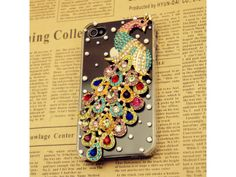 3D Crystal Peacock iPhone 4/4s Case (Colorful)