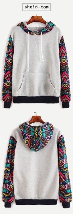 Grey Contrast Sleeve Hooded Sweatshirt
