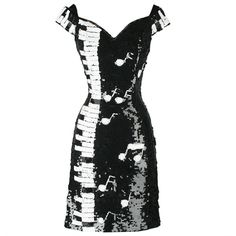 Vintage 1980s Black White Piano Keys Sequins Mini Dress ($395) ❤ liked on Polyvore featuring dresses, vestidos, music, short dresses, off-the-shoulder dress, sequin mini dress, short sequin dress, off shoulder dress and vintage 80s dress