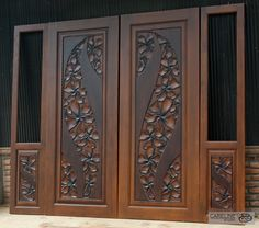 Our Teak wooden doors are designed and manufactured by a team of designers from CareLine Studio with over 20 years experience in multiple countries including Europe U.A and Southeast Asia. - October 05 2019 at Wooden Front Door Design, Wooden Patio Doors, Double Door Design, Wooden Front Doors, Wooden Stairs, Rustic Stairs, Rustic Wood, Modern Rustic, Door Design Interior