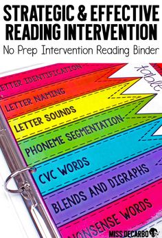Reading intervention should be powerful and easy to prep! This BIG intervention binder for your beginning readers is ink-friendly and can be used over and over again with the use of sheet protectors and dry erase markers. Intervention tools will be at you Reading Binder, Reading Groups, Kindergarten Reading, Teaching Reading, Reading Comprehension, Reading Intervention Activities, Teaching Phonics, Title 1 Reading, Guided Reading Organization