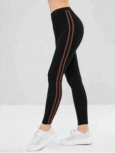 0345788f660 Stripe Trim Elastic Thick Leggings