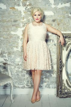 Nude Pink Floral Lace Dress With Jewelled Peter Pan Collar plus size ...