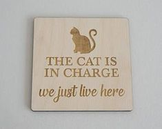 """gifts for cats Funny cat lovers hanging sign. """"The cat is in charge. We just live here"""" Laser engraved wooden wall room door sign plaque. Crazy Cat Lady, Crazy Cats, I Love Cats, Pet Gifts, Cat Lover Gifts, Cat Lovers, Cute Funny Animals, Cute Cats, Funny Cats"""