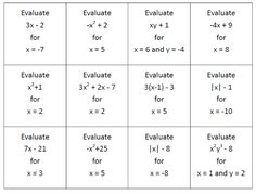 Math = Love: Evaluating Algebraic Expressions Sorting Cards - Free Download