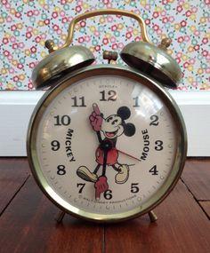 Vintage 1950's Mickey Mouse Alarm Clock by Bradley