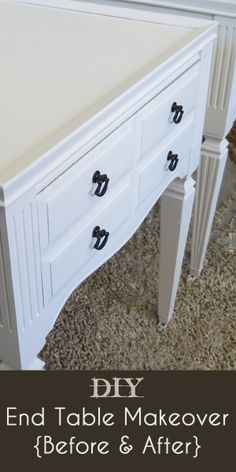 End table makeover tutorial with before and after pictures.