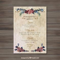 Menu floral do casamento do vintage Vetor grátis