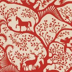 The Forest Fabric - Red Pepper by Thomas Paul for Duralee - perfect for the new rocking chair