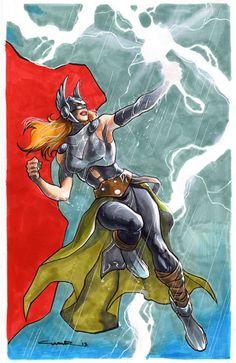 Thor by Yildiray Cinar Marvel Comics, Marvel E Dc, Marvel Comic Universe, Marvel Girls, Marvel Heroes, Anime Comics, Female Comic Characters, Superhero Characters, Thor Girl
