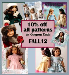 "Don't miss the PATTERN SALE :)   All Dollhouse Designs Patterns 10% off w/ Coupon Code FALL12 in Etsy Shop ~for a Limited Time only~ http://www.etsy.com/shop/DollhouseDesigns  18"" American Girl Doll Sewing Patterns"