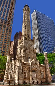 Chicago Water Tower: built in is a contributing property in the Old Chicago Water Tower District landmark district. It is located at 806 North Michigan Avenue along the Magnificent Mile shopping district - Near North Side, Chicago Chicago Travel, Chicago City, Chicago Skyline, Chicago Illinois, Chicago Water Tower, Lake Michigan, Wisconsin, Chicago Photography, Ancient Architecture