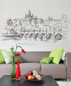 Prague Skyline Wall Decals Prague Wall Decals Cityscape Prague