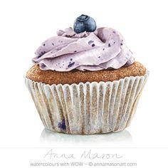 My account - Anna Mason Art Cupcake Painting, Cupcake Drawing, Food Painting, Cupcake Kunst, Cupcake Art, Desserts Drawing, Anna Mason, Dessert Illustration, Blueberry Cupcakes