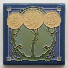 Craftsman Frames, Craftsman Tile, Tile Art, Mosaic Art, Home Crafts, Arts And Crafts, Art Nouveau Tiles, Antique Tiles, Clay Tiles