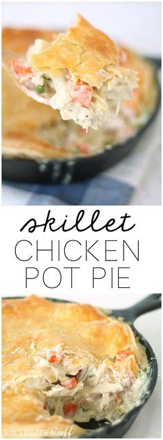 Easy Homemade Skillet Chicken Pot Pie from SixSistersStuff.com | This hearty filling with a perfect flaky crust will have everyone coming back for more! This is a go-to fall dinner recipe.