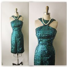 50's Sequin Dress // Vintage 1950's Fitted by TheVintageStudio. , via Etsy.