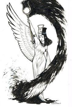 rabbitfishtv: rebekahisaacs: Nephthys Egyptian goddess of... rabbitfishtv: rebekahisaacs: Nephthys Egyptian goddess of Night 11x17 on bristol Night as ink splash. Look at the elegance of this figure!