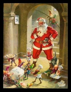 """Vintage 1958 """"Santa's Cookies"""" Christmas Art Print by George Hinke Christmas Scenes, Noel Christmas, Father Christmas, Retro Christmas, Christmas Desserts, Santa Pictures, Christmas Pictures, Santa Cookies, Vintage Christmas Images"""