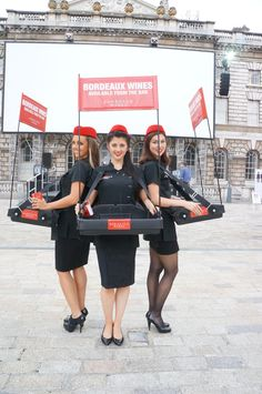 The Usherettes ready to go with their samples of Bordeaux Wine at #film4SummerScreen