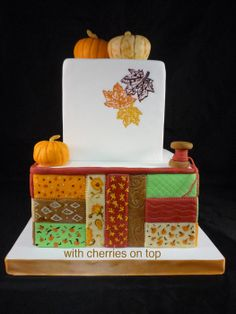 Autumn Quilt - by withcherriesontop @ CakesDecor.com - cake decorating website
