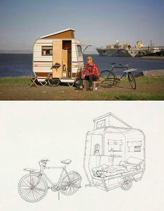 """Camper bike"" Mini mobile home for bikes by Kevin Cyr. Tiny Trailers, Vintage Trailers, Camper Trailers, Tiny Camper, Small Campers, Van Life, Eco Construction, Kombi Home, Bike Trailer"