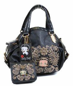 Betty Boop Swirl Rhinestone Detail Black Dome Handbag Purse Wallet Set