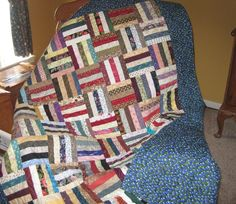 Scrappy Basket Weave Lap Quilt/Couch Throw. $100.00, via Etsy.