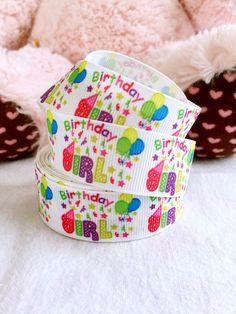 "3 yards 7/8"" Birthday girl ribbon, Birthday ribbon, birthday ballon ribbon, hair bow ribbon, grosgrain ribbon by AliceRibbonResinStop on Etsy https://www.etsy.com/listing/491048659/3-yards-78-birthday-girl-ribbon-birthday"