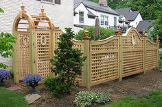 Arched & Scalloped Square Lattice Wood Fence With Portholes & Garden Arch by Elyria Fence (Diy Garden Arch) Trellis Fence, Wood Trellis, Garden Fencing, Trellis Design, Backyard Privacy, Backyard Patio, Backyard Landscaping, Backyard Ideas, Lattice Garden