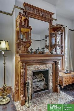 1889 Victorian For Sale In Omaha Nebraska — Captivating Houses Victorian Interiors, Victorian Architecture, Victorian Homes, Classical Architecture, Wooden Fireplace Surround, Fireplace Surrounds, Diy Wooden Projects, Porch And Balcony, Old Abandoned Houses