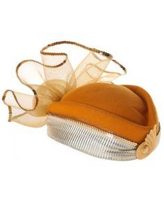 aa3d672c737 Mustard Yellow Hat W  Net Flower Detailing