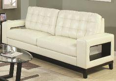 Paige Contemporary Sofa. Cutout Arms , Tufted Cushions