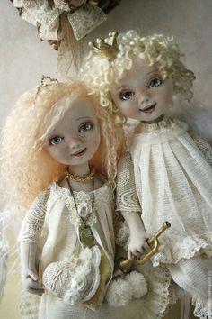 Купить Куклы ангелы.Текстильные куклы Мари и Мигель. - бежевый, кружево, кружевной