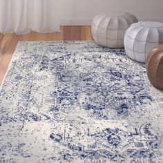 Arlingham Abstract Ivory/Blue Area Rug – Area Rugs in living room Decor, Living Room Decor, White Rug Living Room, Living Room Carpet, Blue Area Rugs, Rugs On Carpet, Farm House Living Room, Beach Bedroom Decor, Blue And White Rug