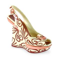 """Collectible 4"""" Miniature Shoe: MISS THING  #16201  --  Multi layered and heavily stacked with the latest in fashionista style, check out the constructed wedge shapes. With its copper buckles and trendsetting, oversized, cinnamon sweet swirls, this stylish cutting edge ivory pattern is sure to get you noticed."""