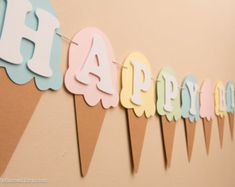 This item is unavailable - Agnes S. - This item is unavailable Ice Cream Birthday Banner Name Banner Ice Cream by CraftsByBiessel - Diy Birthday Banner, Birthday Party Decorations Diy, Diy Banner, First Birthday Parties, Birthday Party Themes, First Birthdays, Themed Parties, Birthday Letters, Birthday Ideas