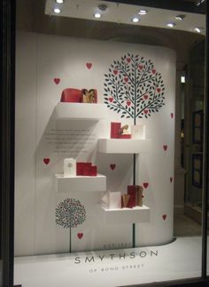 (valentines) day.. great executionof visually stimulating depth, very pleasing to the eye! window display, valentines day, hearts, red, white