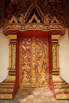 Laos, , Luang Prabang, Richly decorated door of Sala Pha Bang at the Royal Palace Museum