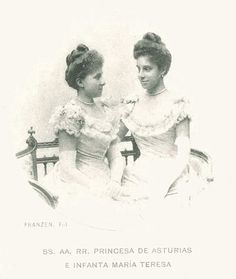 Infantas Maria Teresa and Maria de las Mercedes of Spain. Both sisters would die tragically young.