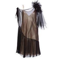 Lanvin Evening Slip Dress with Pleats (€4.965) ❤ liked on Polyvore featuring dresses, black, mini dress, pleated cocktail dress, holiday cocktail dresses, evening cocktail dresses and silk cocktail dress