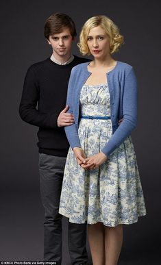 Motherly love: Vera Famiga and Freddie Highmore have posed for a set of unsettling stills ...