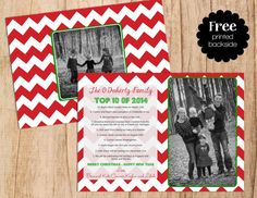 Our Year in Review Personalized Photo Holiday Card . Top 10 of 2014 . Christmas Card . JPEG or PDF . Digital File  .  Two sided Card