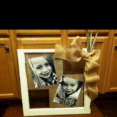 Distressed window... Made this for grandparents this year! So easy and adorable!
